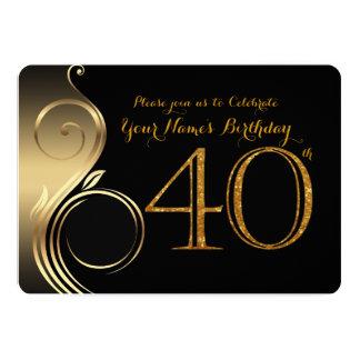 40th,Birthday Invitation,Number Glitter Gold,Photo Card