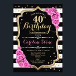 "40th Birthday Invitation Pink Black White Stripes<br><div class=""desc"">40th Birthday Invitation Elegant black white pink design with faux glitter. Black and white stripes with pink roses. Perfect for an elegant birthday party.</div>"