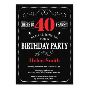 40th Birthday Invitation Red And Black Chalkboard
