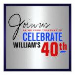 40th Birthday Invitation - Red Silver Blue