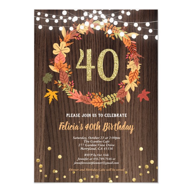 40th birthday invitation Thanksgiving fall rustic