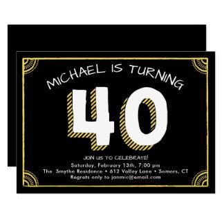 40th Birthday Invitation, Yellow Card