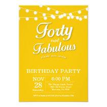 40th Birthday Invitation Yellow Fabulous