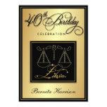 """40th Birthday Invitations - Zodiac Sign Libra 5"""" X 7"""" Invitation Card"""