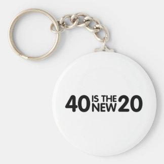 40th Birthday Basic Round Button Keychain