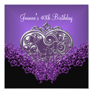 40th Birthday Lace Black Silver Deep Purple Heart Card