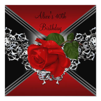 "40th Birthday Lace Black White Silver RED Rose 5.25"" Square Invitation Card"