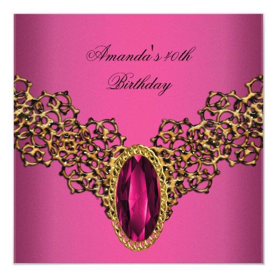 40th Birthday Lace Pink Gold Wild Jewel Card