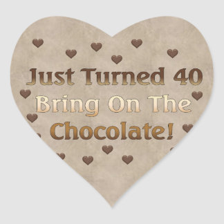 40th Birthday Means Chocolate Heart Sticker
