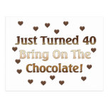 40th Birthday Means Chocolate Postcard