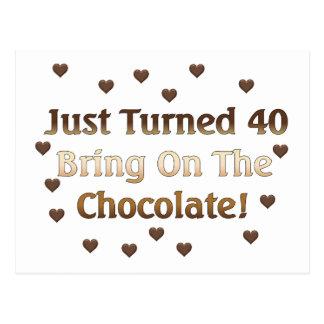 40th Birthday Means Chocolate Postcard