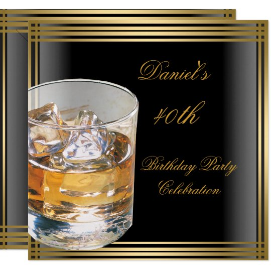 40th Birthday Mens Black Gold Cold Drinks Mans Invitation