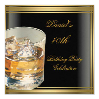 40th Birthday Mens Black Gold Cold Drinks Mans Announcements