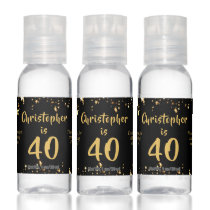 40th Birthday Modern Black Gold Stars Favor Gift Hand Sanitizer