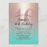 "40th Birthday Modern Blush Rose Gold Aqua Teal Invitation<br><div class=""desc"">Modern Blush Rose Gold & Aqua Teal 40th Birthday Party Invitations.</div>"