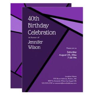 40th Birthday Modern Purple Geometric Shapes Card