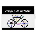 40th Birthday Motivational Bike Bicycle Cycling Greeting Card