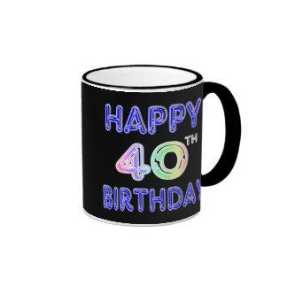 40th Birthday Mug with Ballon Font