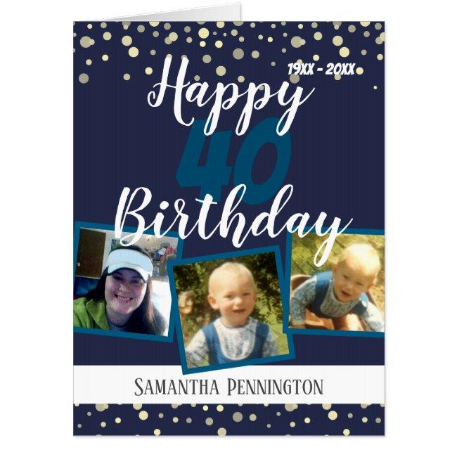 40th Birthday Multi Photo Confetti Card