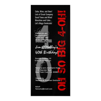 40th Birthday Oh So Big 4 Oh Red Black Metallic Card