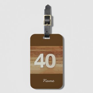 40th Birthday on wooden background Luggage Tag