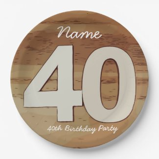 40th Birthday on wooden background Paper Plate
