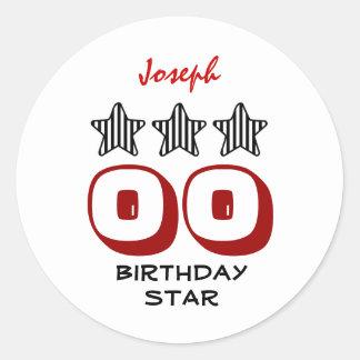 40th Birthday or ANY AGE Striped Stars Custom Name Sticker
