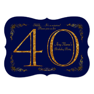 40th,Birthday party 40th,great Gatsby,Navy & gold Card