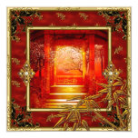 40th Birthday Party Asian View Gold Bamboo Red Card