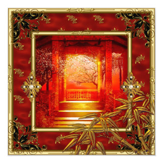 """40th Birthday Party Asian View Gold Bamboo Red 5.25"""" Square Invitation Card"""