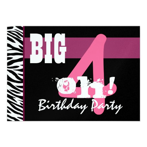 40th Birthday Party - Big 4 Oh Pink Zebra Metallic Personalized Invitations