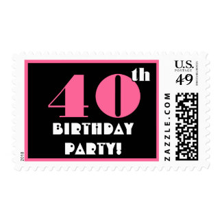 40th Birthday Party Big Bold Turquoise and Black Postage