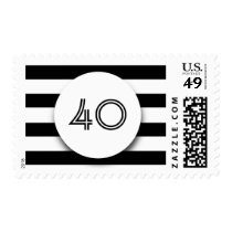 40th Birthday Party Black and White Stripes Postage