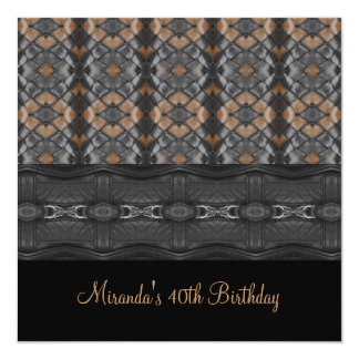 40th Birthday Party Black Beige Leather Weave Invitation