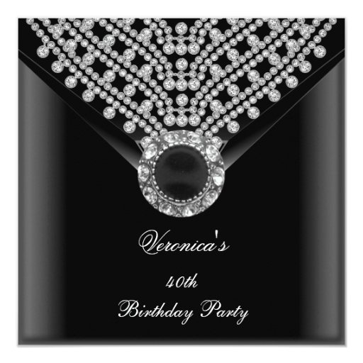 40th Birthday Party Black Diamonds Image Announcement