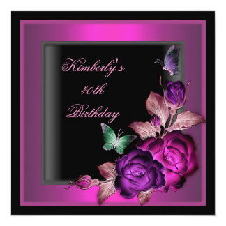 40th Birthday Party Black Floral Pink Butterfly Card
