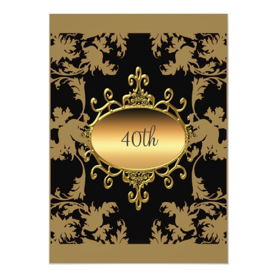 40th Birthday Party Black Gold Invitation
