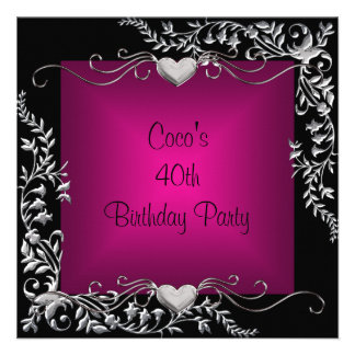 40th Birthday Party Black Silver Floral Pink Personalized Announcement