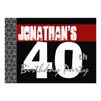 40th Birthday Party Black White Pattern and Red Custom Announcements