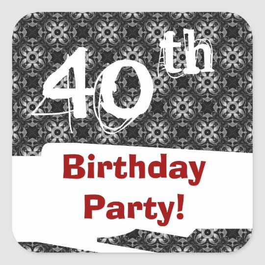 40th Birthday Party Black White Pattern and Red Square Sticker