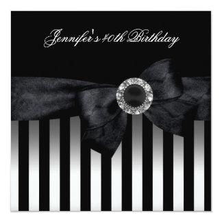 40th Birthday Party Black White Stripe Diamond Card