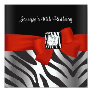 40th Birthday Party Black Zebra Stripe Red Bow 5.25x5.25 Square Paper Invitation Card