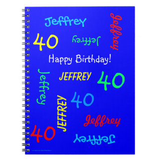40th Birthday Party Blue Guest Book, Repeat Name Notebook