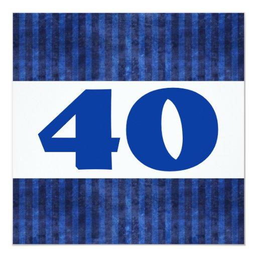 40th Birthday Party Blue Stripes Modern R451 Announcement
