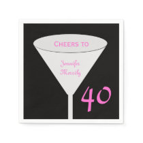 """40th Birthday Party """"Cheers To"""" Paper Napkins"""