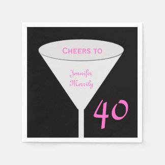"""40th Birthday Party """"Cheers To"""" Paper Napkins Standard Cocktail Napkin"""