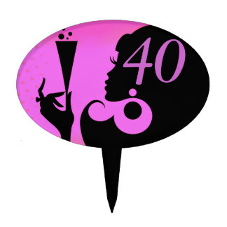 40th Birthday Party Cocktail Girl - lilac Cake Topper