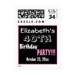 40th Birthday Party Custom Name Year Postage Stamp