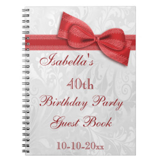 40th Birthday Party Damask and Bow Spiral Notebook