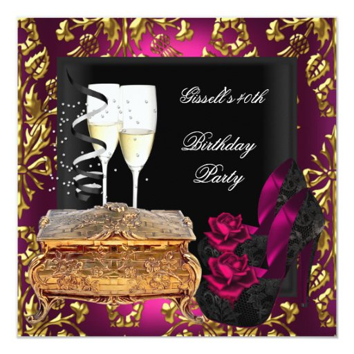 """40th Birthday Party Damask Pink Gold Shoes 5.25"""" Square Invitation Card"""